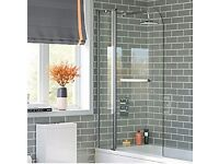 !!BRAND NEW!! Shower screen/Bath screen, hinged with fixed section, new unused in box,
