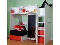 Rutland High Sleeper with Futon Bed bunk bed.