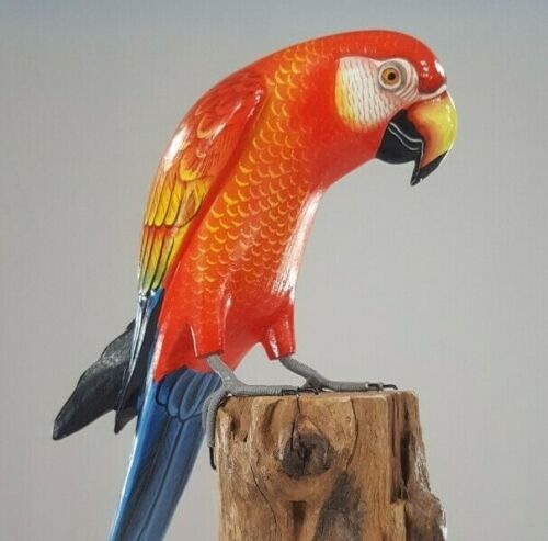 """Hand Carved Hand Painted Wood Macaw Red 16"""" Exotic Hardwood"""