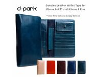 D-Park Genuine Leather Wallet Style cases for iPhone 6/6S 4.7 inches Phones and Galaxy note 2/3
