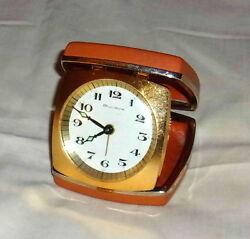 Vintage Bulova Glow-In-The-Dark Windup Flip Travel Alarm Clock