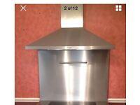 Chimney Cooker Hood Stainless Steel 90cm, With Range Master Double Oven Splashback