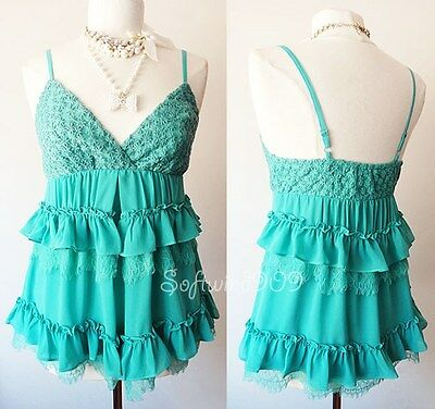 (NEW Teal Green Scallop Lace/Ruffle Trim ROMANTIC Babydoll Chiffon CUTE Cami Top )