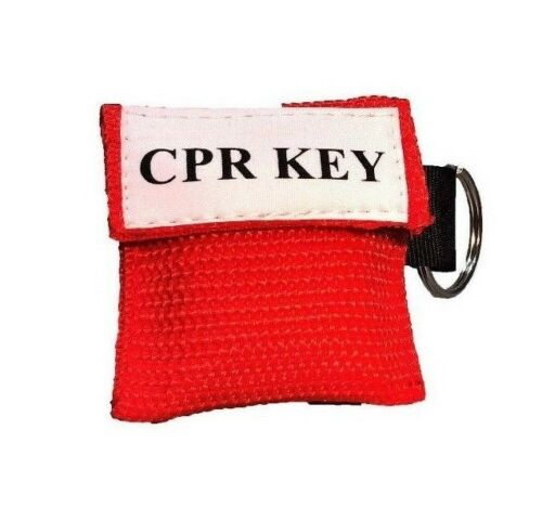 "1 Red Face Shield CPR Mask in Pocket Keychain - ""CPR Key"""