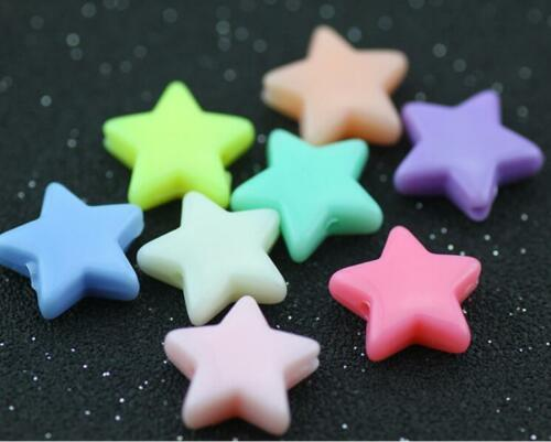 DIY 100X Candy colors Acrylic Star Beads Pacifier chain Jewelry Accessories 14mm