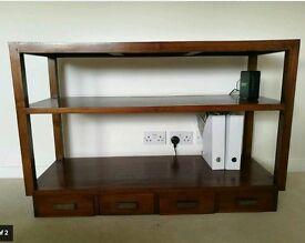 Mid-century modern hardwood hallway table console credenza