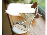 Diamanté T-bar Bridal Shoes UK 7