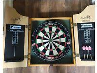 Darts board and cabinet