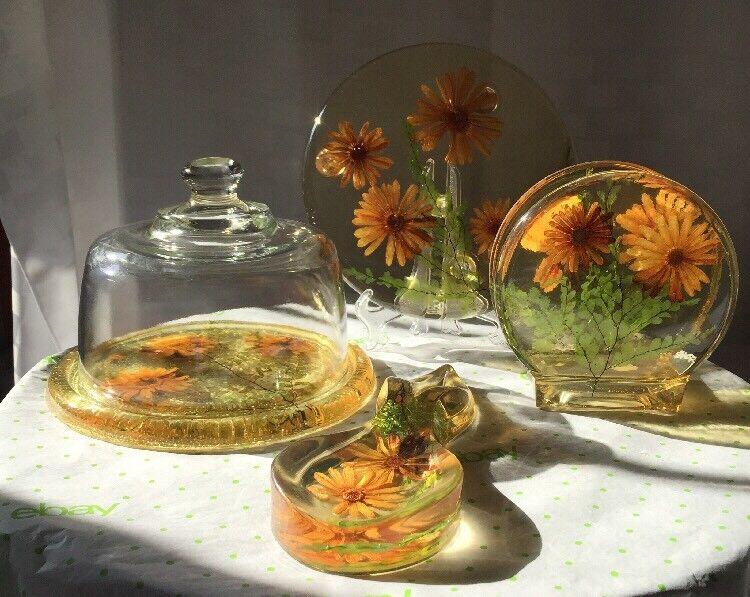 Retro Mid Century Lucite Kitchen Decor Collection Trivet Spoon Napkin Cheese