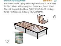 Folding bed, sturdy orthopedic natural
