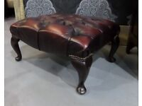 Stunning Chesterfield Winchester Queen Anne Footstool in Oxblood Leather