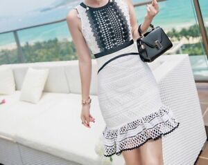 White & black fashion dress