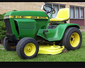 Wanted snow blower and mower deck for 1981 John Deere 214