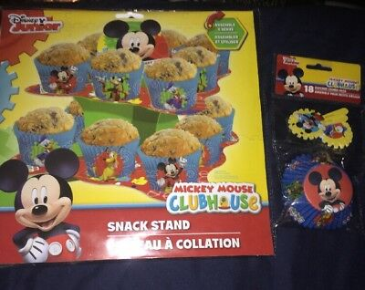 Disney Mickey Mouse Clubhouse Snack Stand & Cupcake Combo Pack - Party Supplies - Mickey Mouse Cupcake Stand