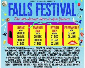 WTB Falls Festival Lorne 4 Day tickets x5 or 6 Chadstone Monash Area Preview
