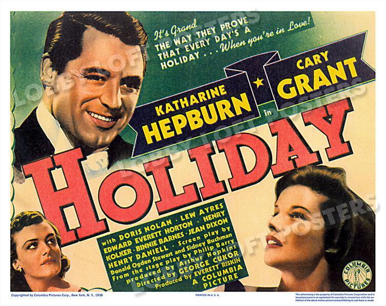 HOLIDAY LOBBY TITLE CARD POSTER 1938 CARY GRANT KATHARINE HEPBURN