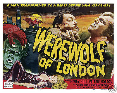 WEREWOLF OF LONDON LOBBY TITLE CARD POSTER 1951-R HENRY HULL VALERIE HOBSON  - $14.95