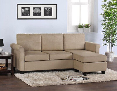 Beige Sectional Sofa Khaki Taupe Microfiber Configurable with Chaise SHIPS FREE ()