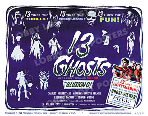 13 GHOSTS LOBBY TITLE CARD POSTER 1960 CHARLES HERBERT JO MORROW WILLIAM CASTLE