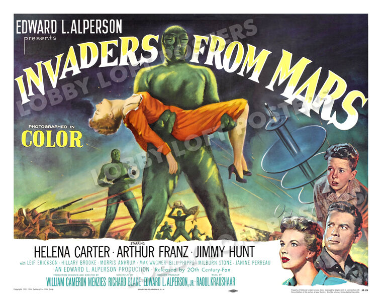 INVADERS FROM MARS LOBBY CARD POSTER HS-B 1953 JIMMY HUNT HELENA CARTER