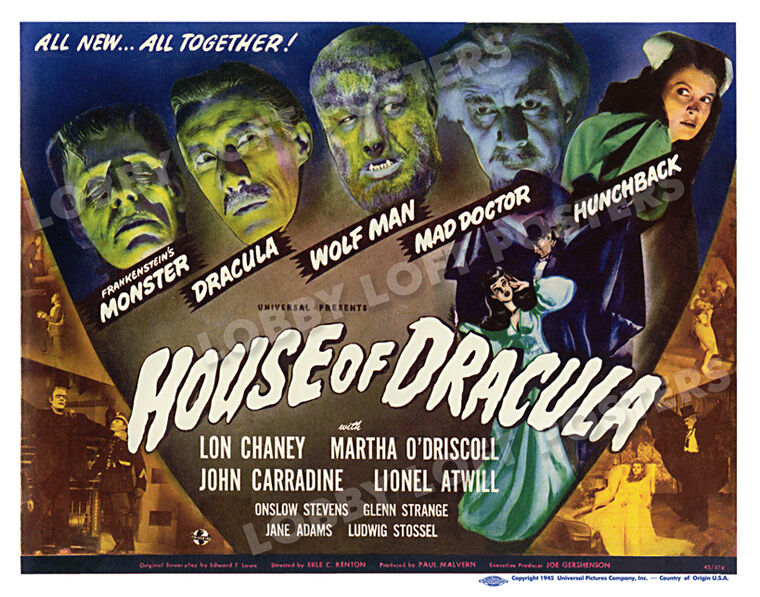 HOUSE OF DRACULA LOBBY TITLE CARD POSTER 1945