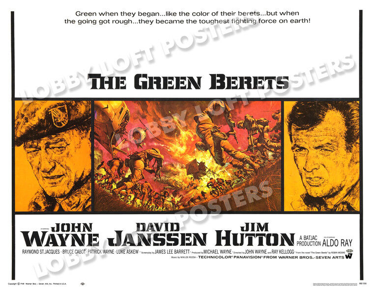 THE GREEN BERETS LOBBY CARD POSTER HS 1968 JOHN WAYNE DAVID JANSSEN JIM HUTTON - $14.95