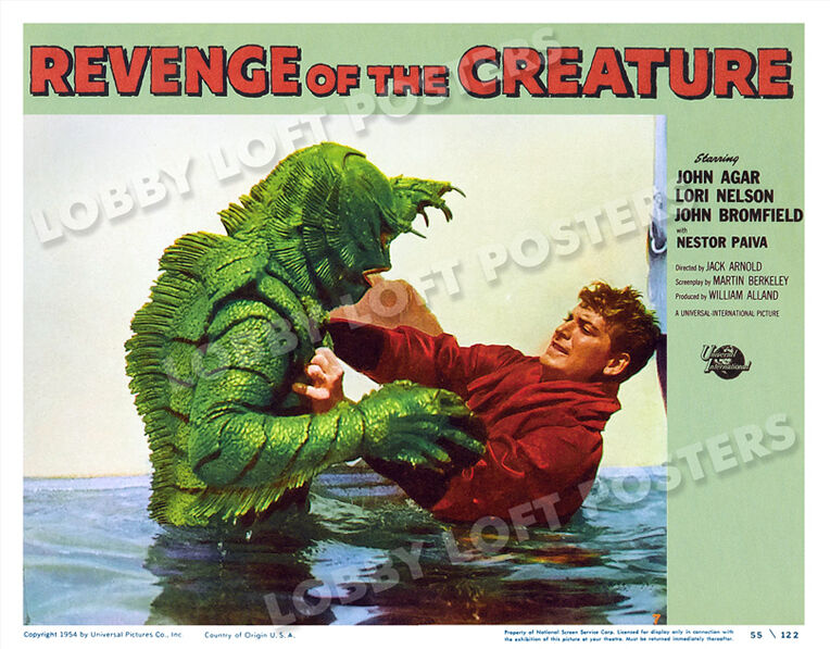 REVENGE OF THE CREATURE LOBBY SCENE CARD # 7 POSTER 1955 JOHN BROMFIELD