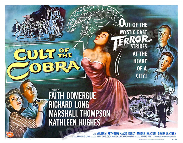 CULT OF THE COBRA LOBBY CARD POSTER HS-A 1955 FAITH DOMERGUE RICHARD LONG