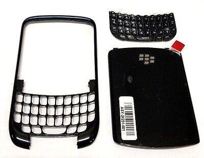 Black Blackberry Faceplates - BlackBerry 8520 8530 Front Back Housing Faceplate Keypad Set Battery Door Oem
