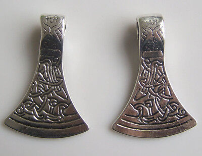 Silver Axe Head Viking Thor Norse Talisman Runic Celtic Pattern Charm Pendant