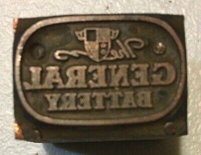 General Battery Company Letterpress Print Block Logotype Kelsey Printing Press