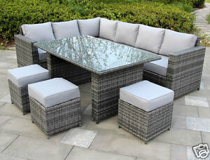 Conservatory Papaver range Rattan garden furniture set 9 seater dining set Grey