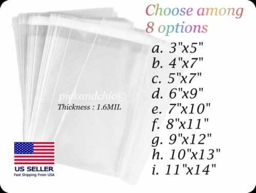 100PCS Premium Clear Resealable Cellophane Cello Bag 1.6Mil OPP Bag Resealable