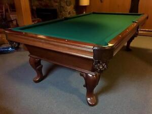 8' OLHAUSEN SLATE POOL TABLE INSTALLED WITH ACCESSORIES