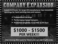 Company Expansion $1000-1500 Per Week - Kelowna