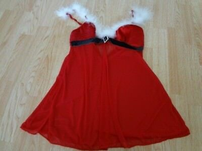 Women's Inner Secrets S Sexy Santa Outfit Lingerie Red Black White
