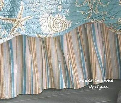 Natural Shells King Bed Skirt : Aqua Cream Striped Shell Beach Dust Ruffle