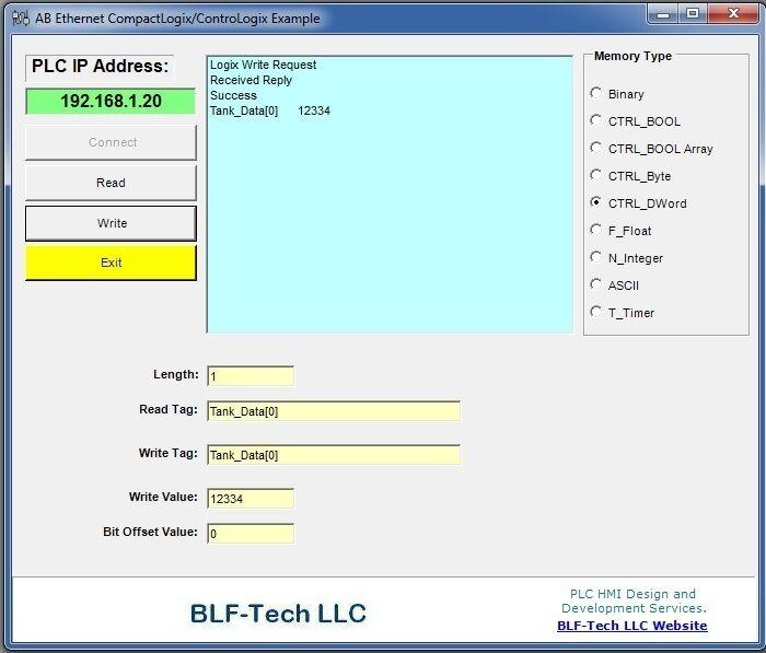 Allen Bradley Ethernet DLL Driver for ControlLogix & CompactLogix Run Time Free