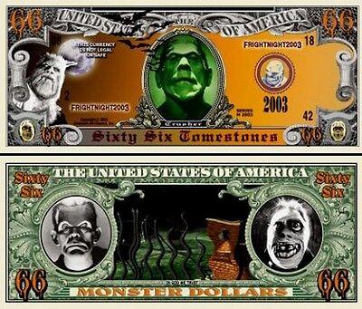 Die Monsters Geldschein 66 Dollar US ! Serie Halloween Horror Frankenstein Wolf