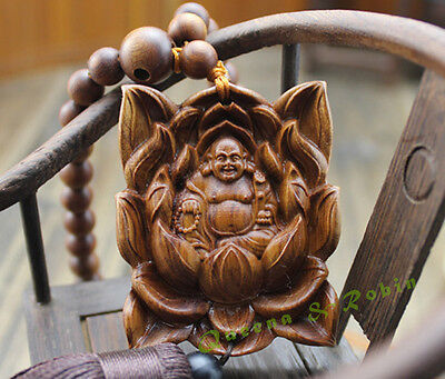 Wood Carved  Buddhism Beads Lotus Happy Buddha Statue Sculpture Amulet W180