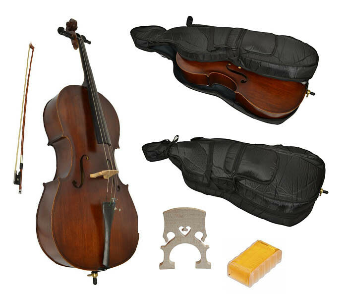 Student Cello 3/4 Size with Case, Bow & Full Accessories 9-15Yrs by Sotendo UK