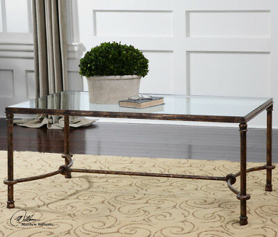 Transitional Rustic Bronze Iron & Clear Glass Coffee Table