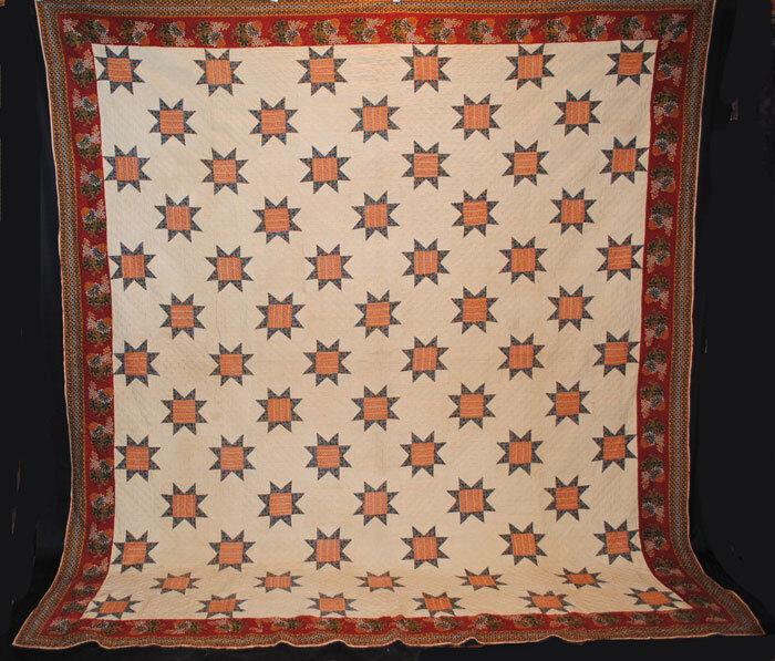 """Antique Quilt 1820 Star Cylinder Roller Floral Prints  105-1/2"""" X 97-1/4"""""""