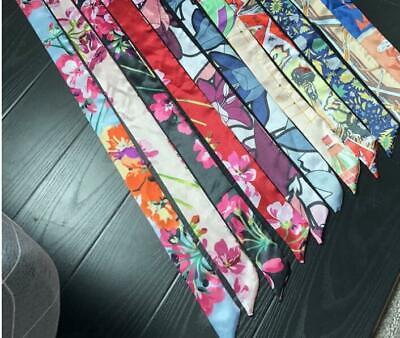 Floral Skinny Silk Twill Scarf / Head Scarves / Skinny tie / Handbag handle wrap