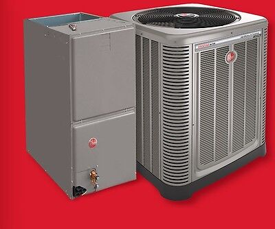 RHEEM 14 SEER 4 TON CENTRAL AIR CONDENSING UNIT, FURNACE AND  COIL 410A