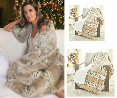 "DKNY Ivory Chenille Knit Snow  Leopard  Faux Fur Throw Blanket 50/""x 60"" New!"