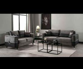 Neptune 3+2 Seater Sofa Bed Grey Plush Velvet With Leather