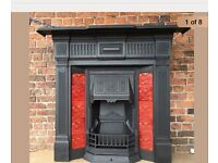Fireplace Victorian cast iron fire original Minton tiles complete (delivery available £25 most UK)