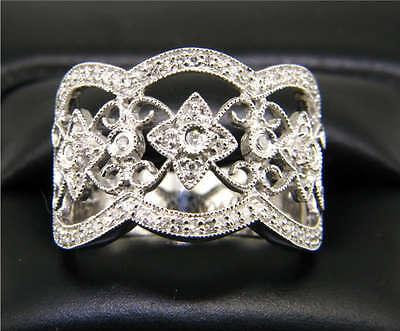 14k White Gold Diamond Antique style Band ring