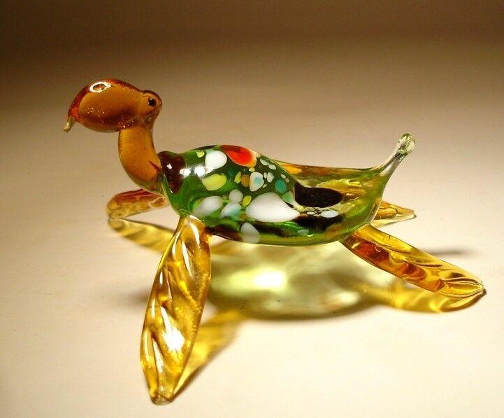 Blown Glass Art Animal Ocean Creature Green and Amber Sea TURTLE Figurine